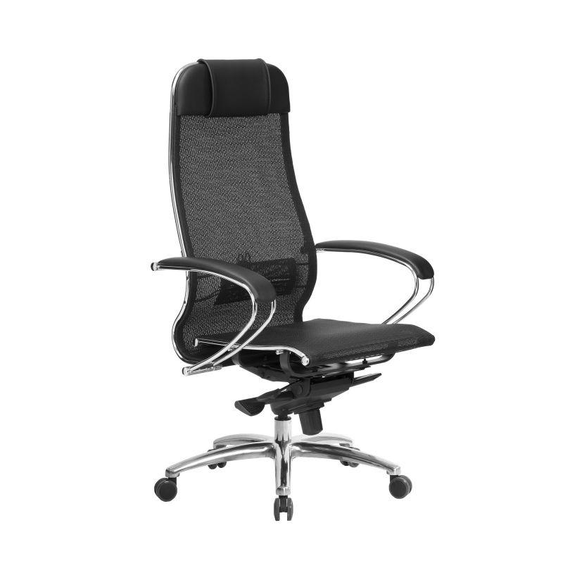 Кресло компьютерное для руководителя Samurai S-1.04 Черный Плюс (для дома и офиса)