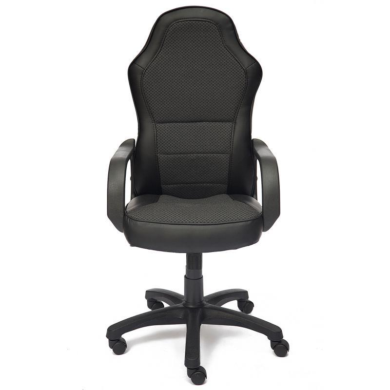 Кресло компьютерное офисное «Каппа» (Kappa) (Искусств. чёрная кожа + ткань серый ромб)