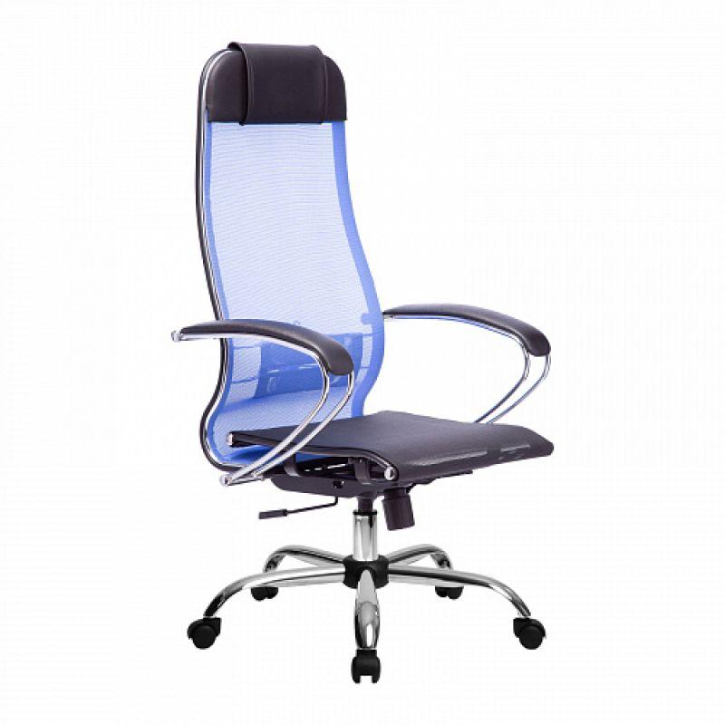 Кресло компьютерное МЕТТА 4 Васильковый хром для офиса и дома