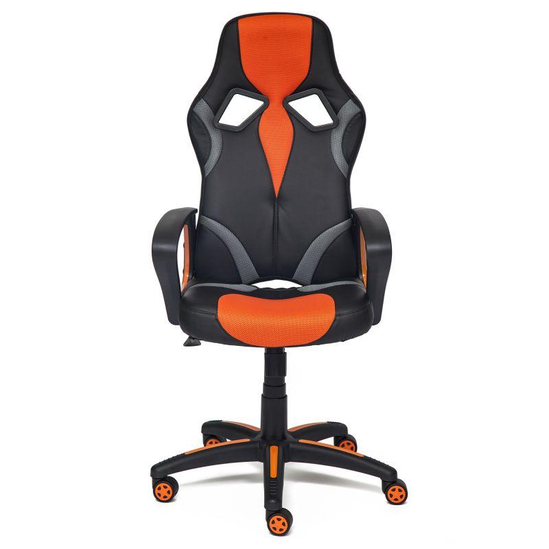 Кресло «Ранер» (Runner) компьютерное для дома и офиса (Искусст. кожа + оранжевая сетка)