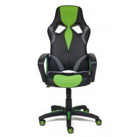 Кресло компьютерное для дома и офиса «Ранер» (Runner) (Искусст. черн. кожа + зеленая сетка)