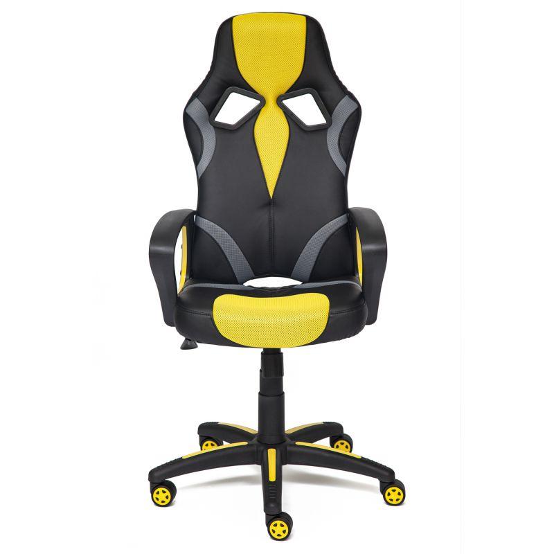 Кресло компьютерное «Ранер» (Runner) (Искусст. черн. кожа + желтая сетка) для дома и офиса
