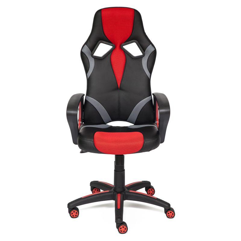 Кресло компьютерное для офиса и дома (Runner) (Искусст. черн. кожа + красная сетка)