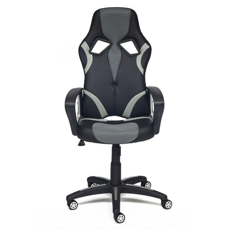 Кресло компьютерное «Ранер» (Runner) (Искусст. черн. кожа + серая сетка) для дома и офиса