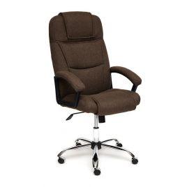 Кресло компьютерное для офиса и дома «Бергамо» (Bergamo) (Коричневая ткань) Хром
