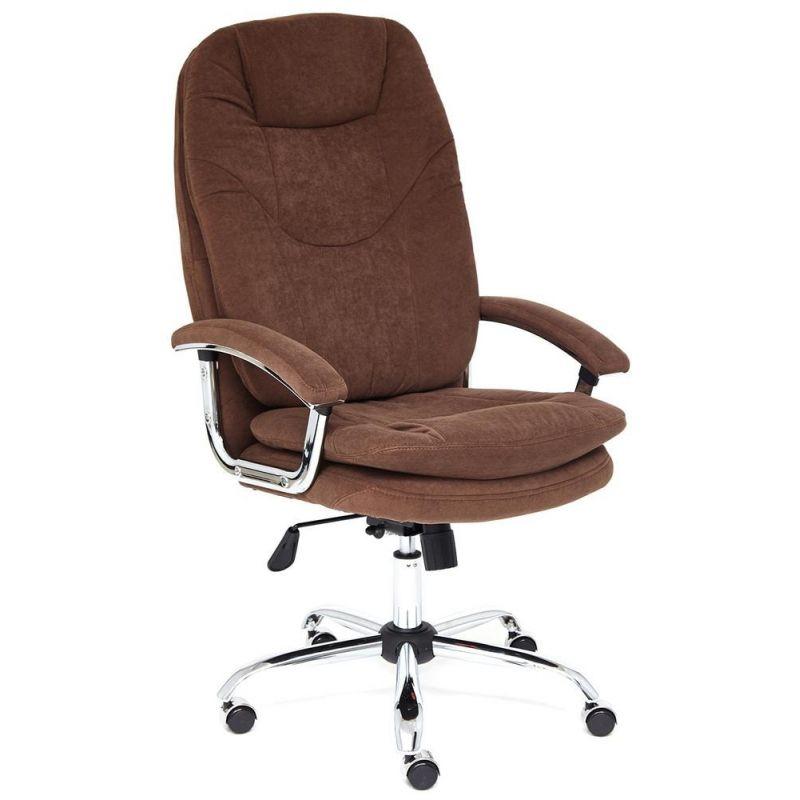 Кресло компьютерное Softy Lux для офиса и дома (Коричневая ткань флок)