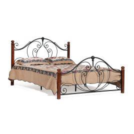Кровать кованая «Coltano» 160*200 + основание Черный /Темный дуб