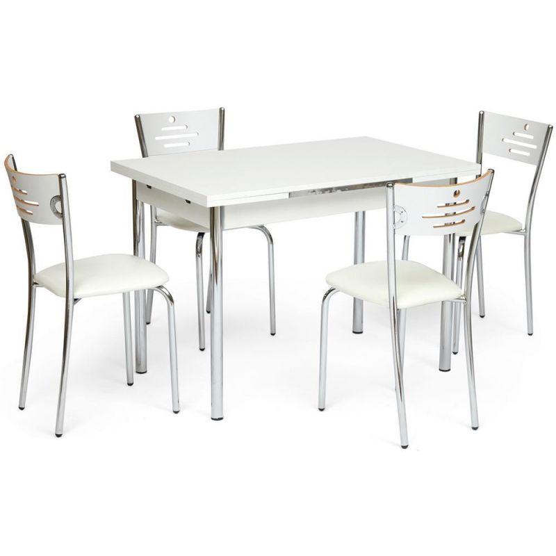 Обеденный комплект Bursa (стол раскладной + 4 стула) Белый