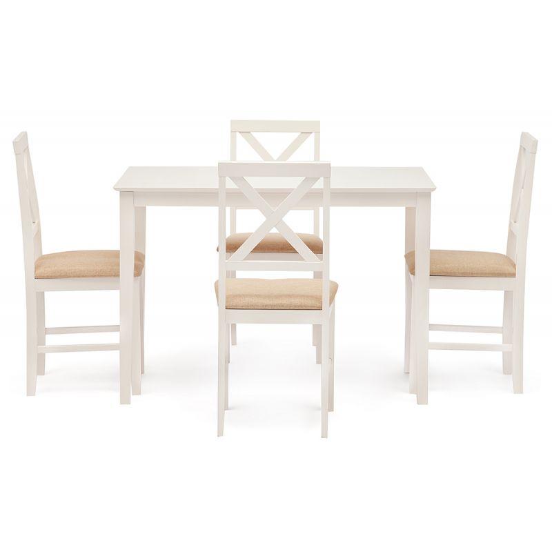 Обеденный комплект «Хадсон» (Hudson) (стол + 4 стула) Слоновая кость