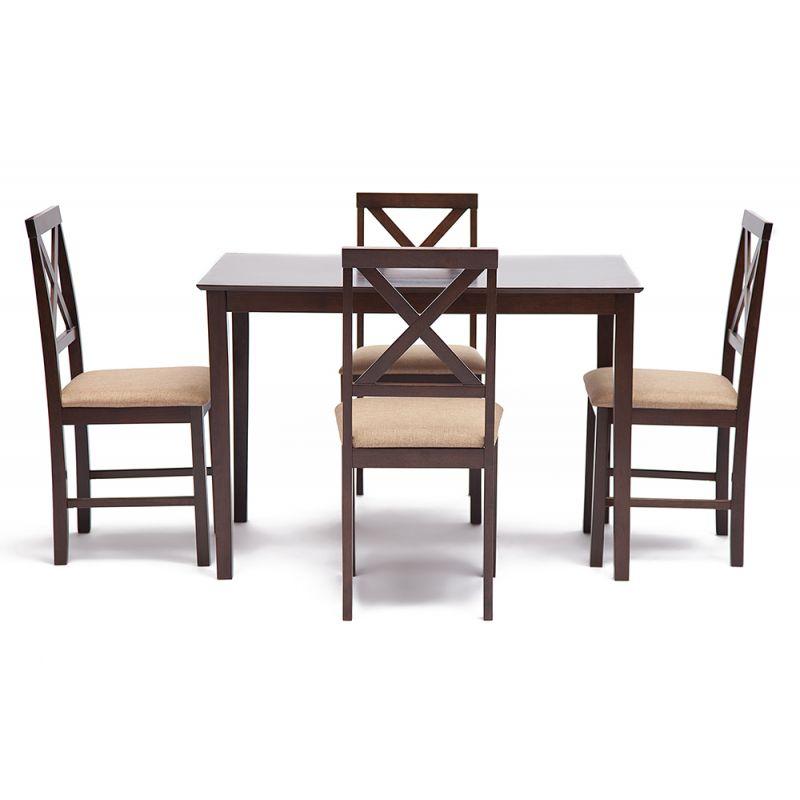 Комплект «Хадсон» (Hudson) (стол + 4 стула) Темный орех