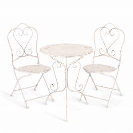 Комплект кованый Monique (стол + 2 стула) Античный белый