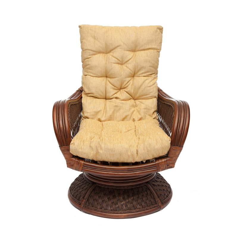 Кресло-качалка из ротанга «Андреа релакс медиум» (Andrea ) + бежевая одушка (Pecan washed)
