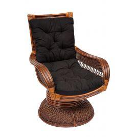 Кресло-качалка из ротанга «Андреа релакс медиум»+ черная Подушка (Pecan washed)