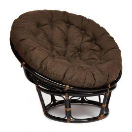 Кресло из ротанга «Папасан» (Papasan) Антик Браун подушка коричневая
