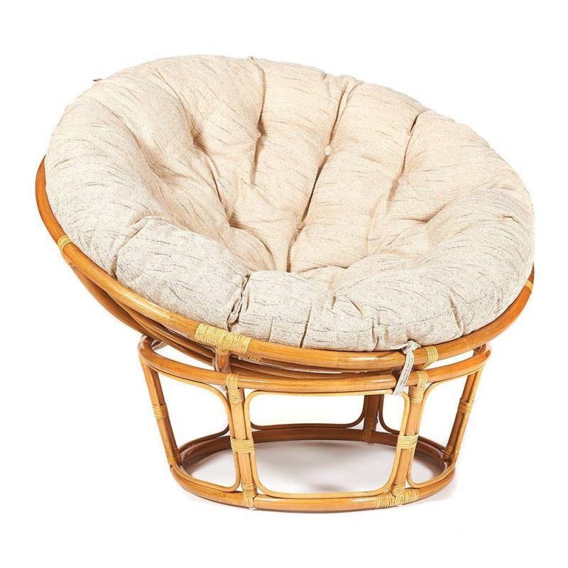 Кресло из нат. ротанга «Папасан» (Papasan) Мед + Подушка бежевая