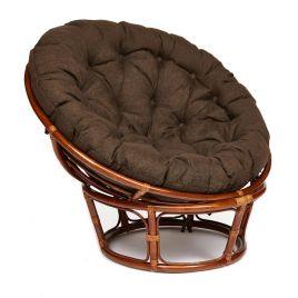 Кресло из ротанга «Папасан» с кор. подушкой (Орех)
