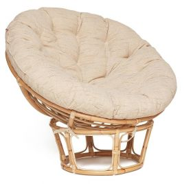 Кресло из нат. ротанга «Папасан» (Papasan) Без покраски + Подушка бежевая