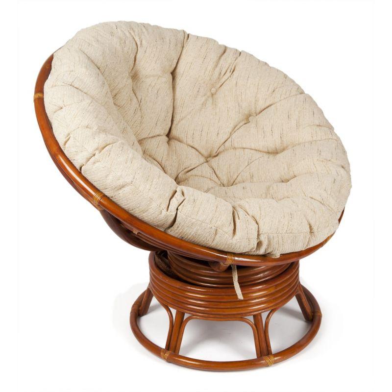 Кресло-качалка плетёное «Папасан» (Papasan 23/01B) + Подушка (Коньяк)