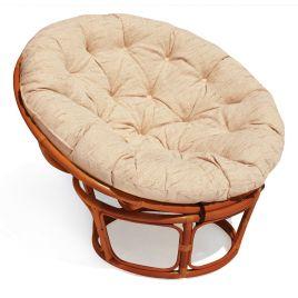 Кресло из ротанга «Папасан» (Papasan) (Коньяк) подушка беж