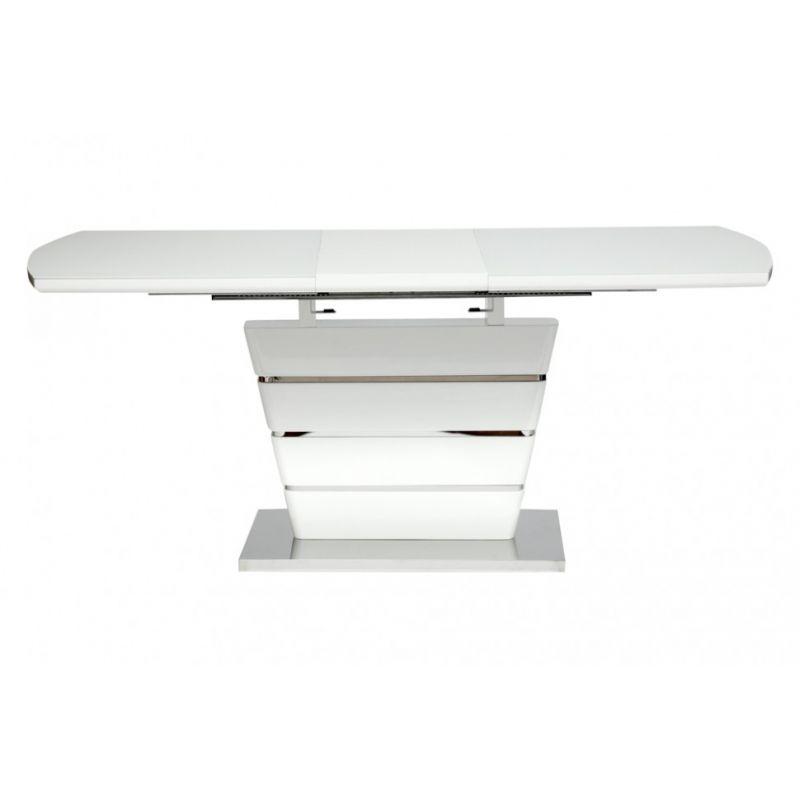 Стол обеденный стеклянный раскладной «Schneider» 140 (Шнайдер) Белый