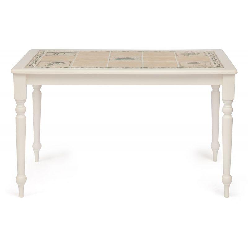 Стол обеденный деревянный с плиткой СТ 3349 (Прованс) Античный белый