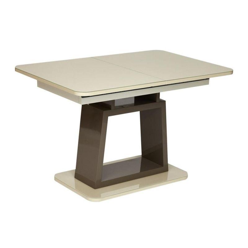 Стол обеденный для кухни стеклянный раздвижной «Brugge» 140 (Слоновая кость)