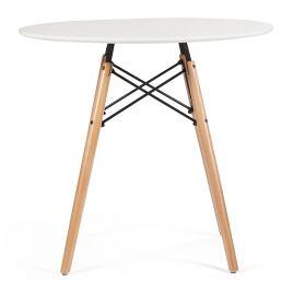 Стол для кухни обеденный деревянный круглый «Cindy» Белый