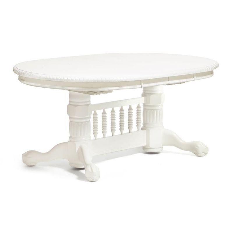 Стол обеденный деревянный овальный раскладной 4296SWC Белый ( Молочный )