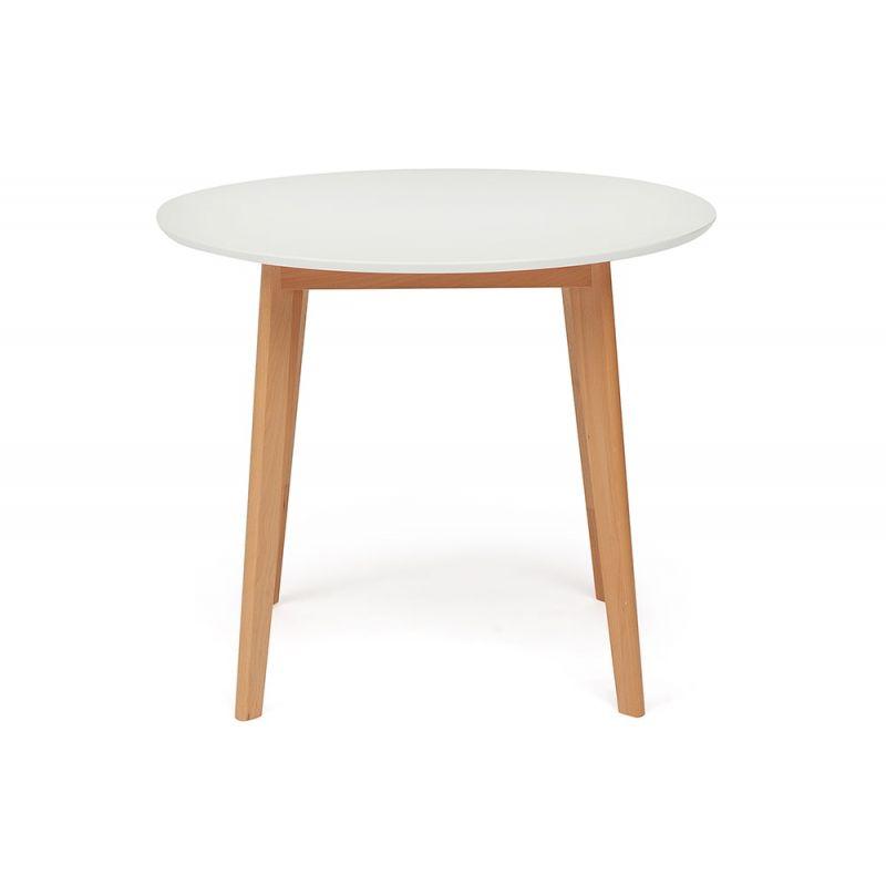 Стол для кухни обеденный деревянный круглый «Боско» (Bosco Buk) (Бук+белый)