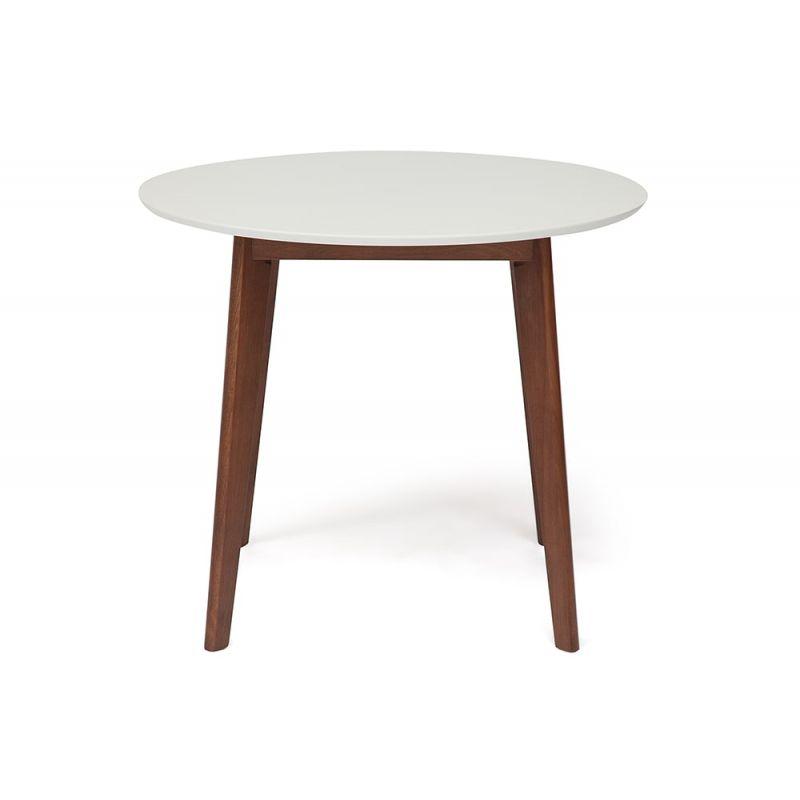 Стол для кухни обеденный деревянный круглый «Боско» (Bosco Brown) (Коричневый+белый)
