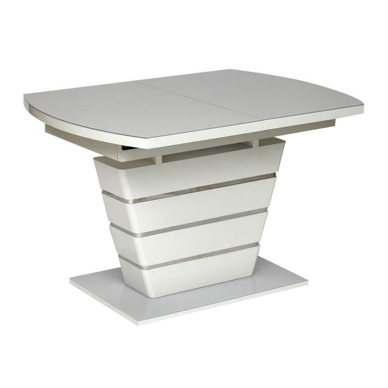 Стол обеденный стеклянный раскладной «Schneider» 120 (Шнайдер) Белый