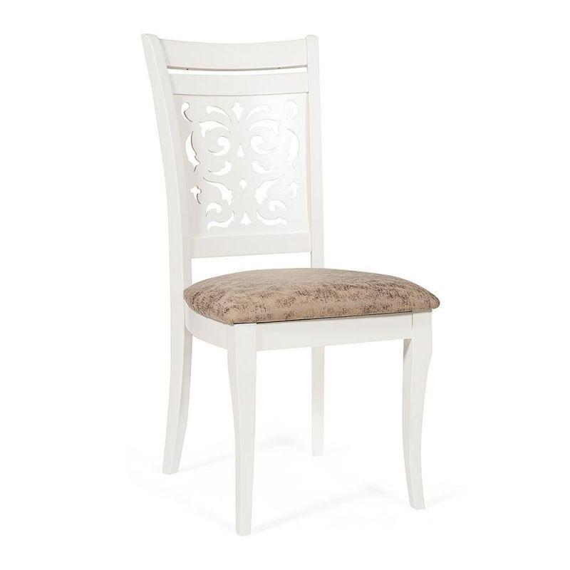 Стул обеденный деревянный Siena (Сиена) (Ivory white (слоновая кость) ткань ант. коричневый