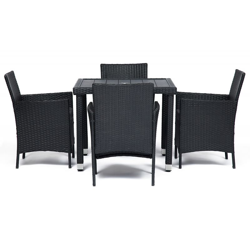 Обеденный сет из ротанга (стол + 4 стула) (mod. 210036) (Чёрный)