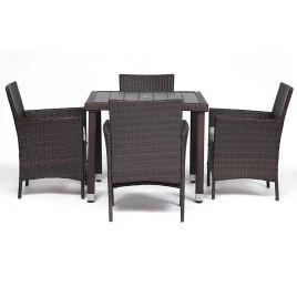 Обеденный сет из ротанга (стол + 4 стула) (mod. 210036) (Коричневый)