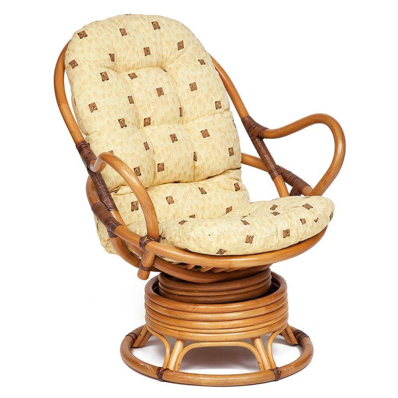 Кресло-качалка из ротанга «Флорес» (Flores 5005) + Подушка (Мед)
