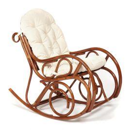 Кресло-качалка из натурального ротанга с подушкой «Гавайи» Орех