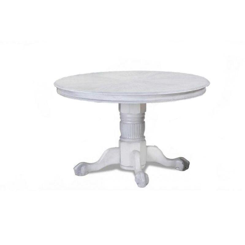 Стол обеденный деревянный круглый раскладной 4260STC Белый ( WHITE GREY )