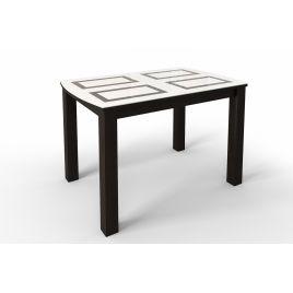 Стол обеденный стеклянный раскладной РИТМ1 Венге/Белый