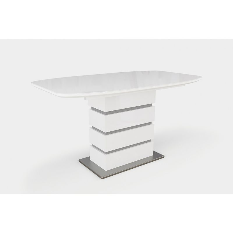 Стол обеденный стеклянный раскладной Соло Белый