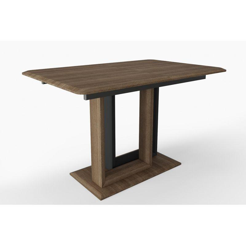 Стол обеденный современный раскладной Тетрис Орех кантри/Графит