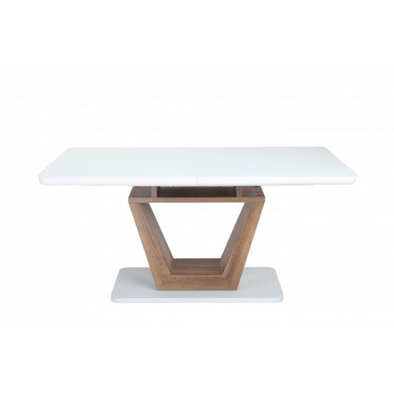 Стол обеденный стеклянный раскладной OKT-2124 Белый/Коричневый