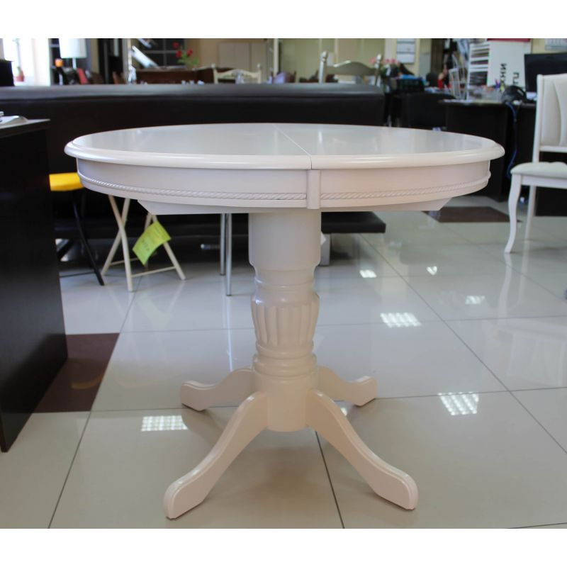 Стол деревянный обеденный круглый раскладной Queen Молочный (белый)