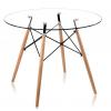 Стол для кухни обеденный деревянный со стеклом круглый «Cindy» Натуральный