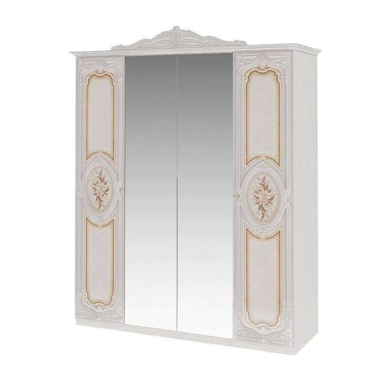 Шкаф 4-х дверный распашной Роза беж для спальни
