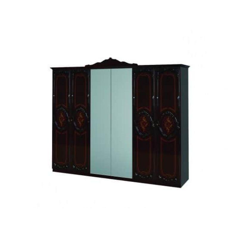 Шкаф 6-ти дверный распашной для спальни и гостиной Роза махонь