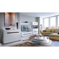 Белая глянцевая модульная гостиная