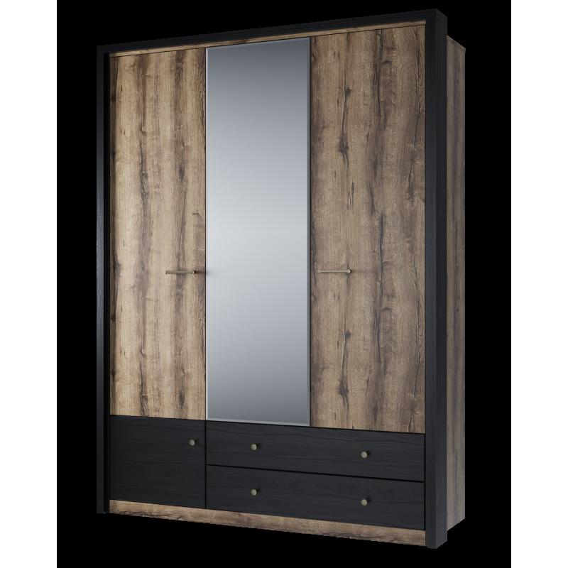 Шкаф  распашной JAGGER 3DG2SZ Дуб монастырский/Черный для спальни и прихожей