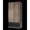 Шкаф платяной распашной JAGGER 2DG2S Дуб монастырский/Черный для спальни и прихожей