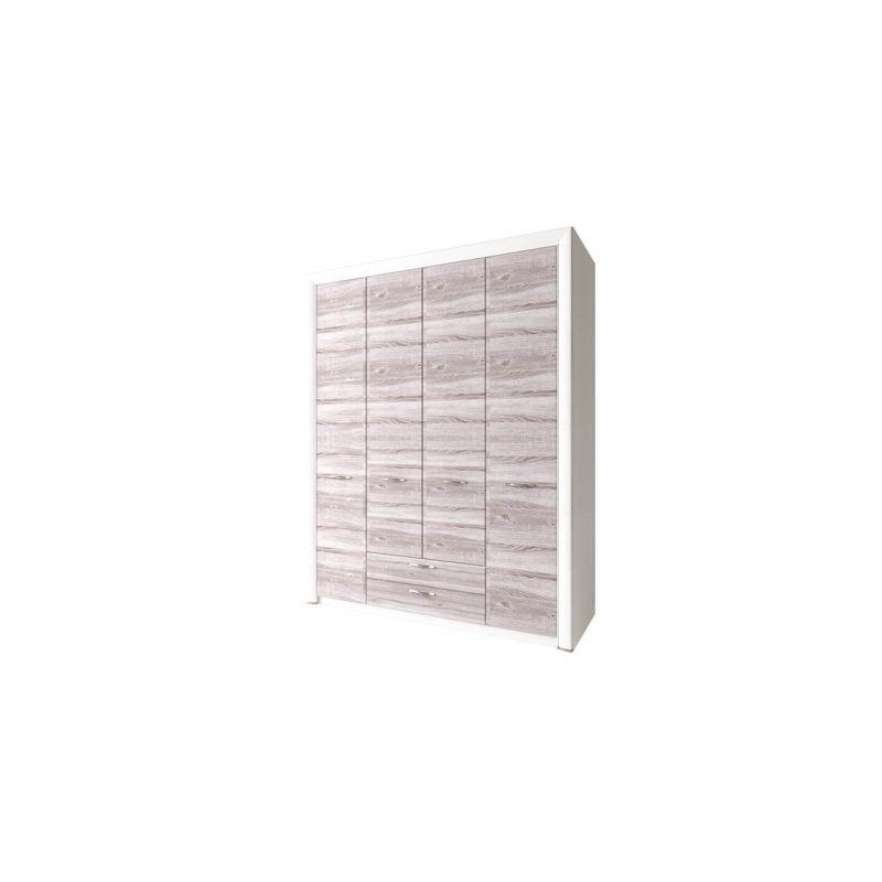 Шкаф четырехстворчатый распашной для одежды с зеркалом Оливия 4D2S