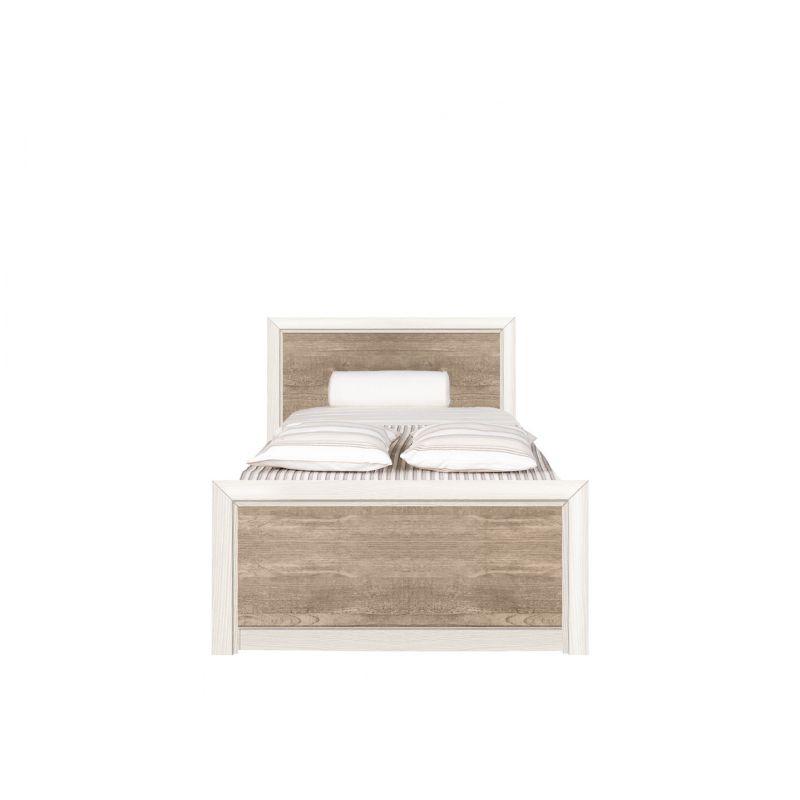Кровать с ламелями КОЕН LOZ90х200 Ясень снежный/Сосна натуральная